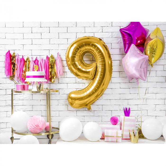 Balon Folie Cifra 9 Auriu, 86 cm 2