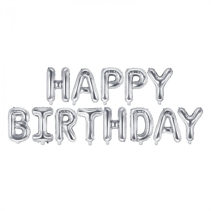 Baloane Folie Happy Birthday Argintiu - 340x35 cm 0