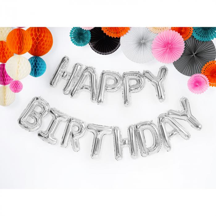 Baloane Folie Happy Birthday Argintiu - 340x35 cm 1