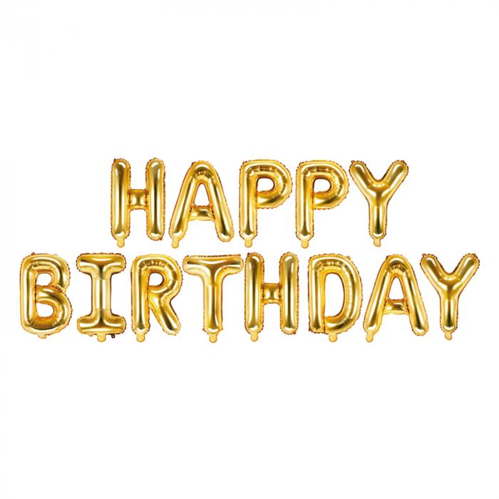 Baloane Folie Happy Birthday Auriu - 340x35 cm 0