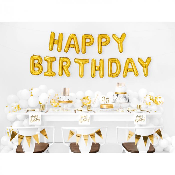 Baloane Folie Happy Birthday Auriu - 340x35 cm 1