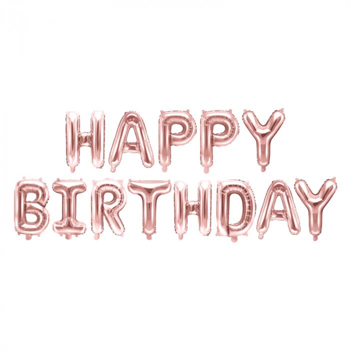 Baloane Folie Happy Birthday Roz - 340x35 cm [0]