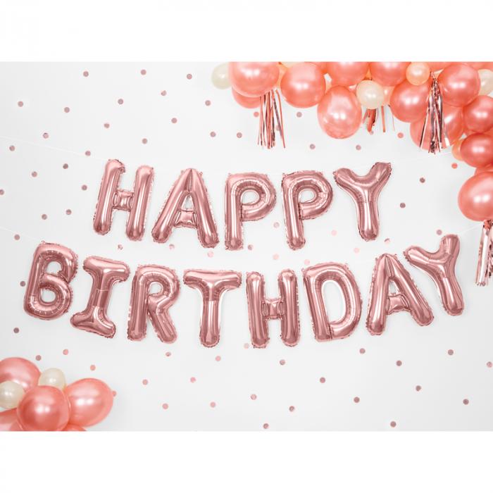 Baloane Folie Happy Birthday Roz - 340x35 cm [1]