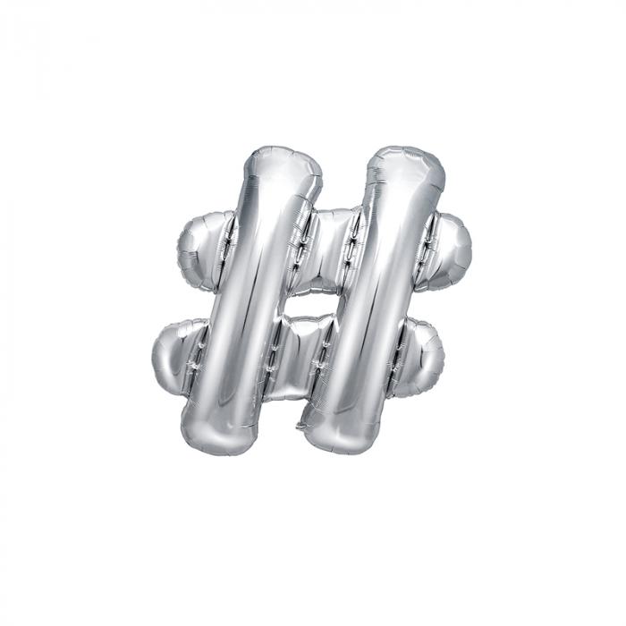 Balon Folie Hashtag, Argintiu - 35 cm 0