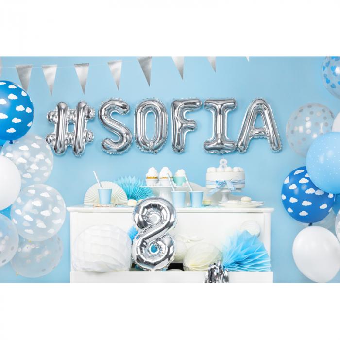 Balon Folie Hashtag, Argintiu - 35 cm 2