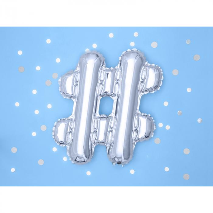Balon Folie Hashtag, Argintiu - 35 cm 1