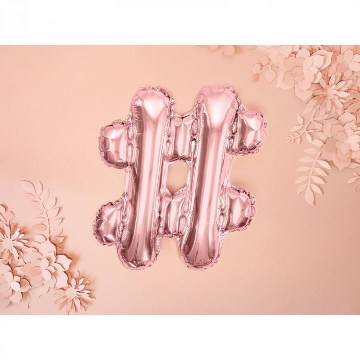 Balon Folie Hashtag, Roz - 35 cm 1