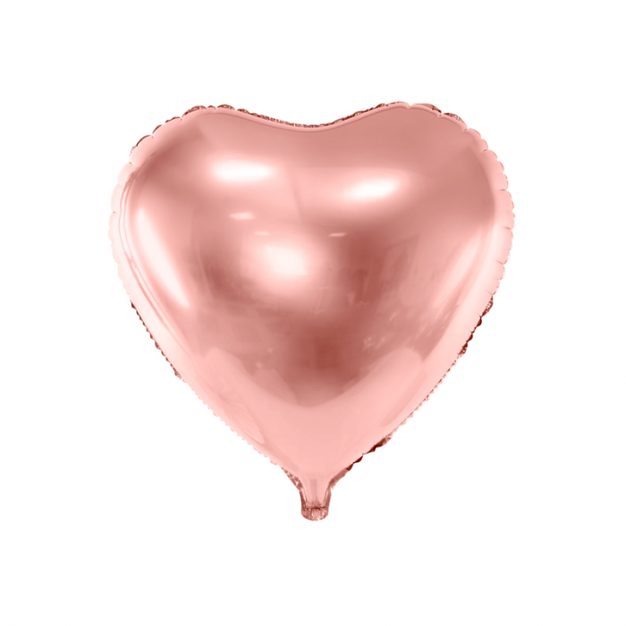 Balon Folie Inima, Roz Metalizat - 45 cm 0