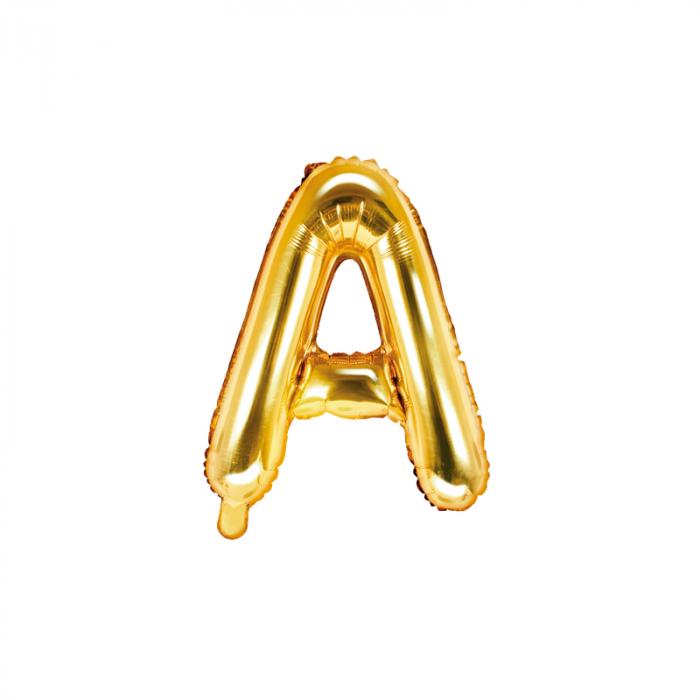 Balon Folie Litera A Auriu, 35 cm [0]