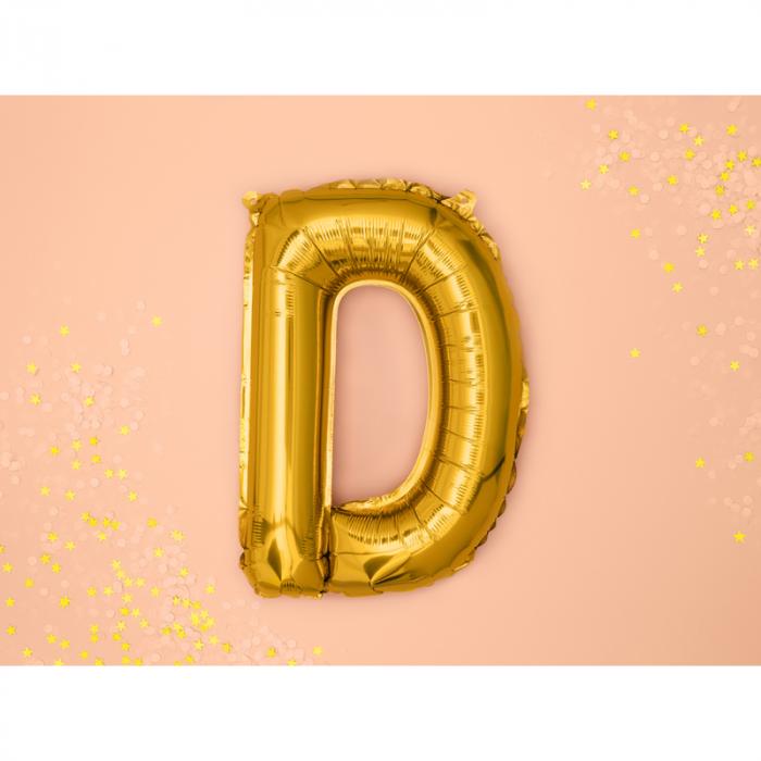 Balon Folie Litera D Auriu, 35 cm 1