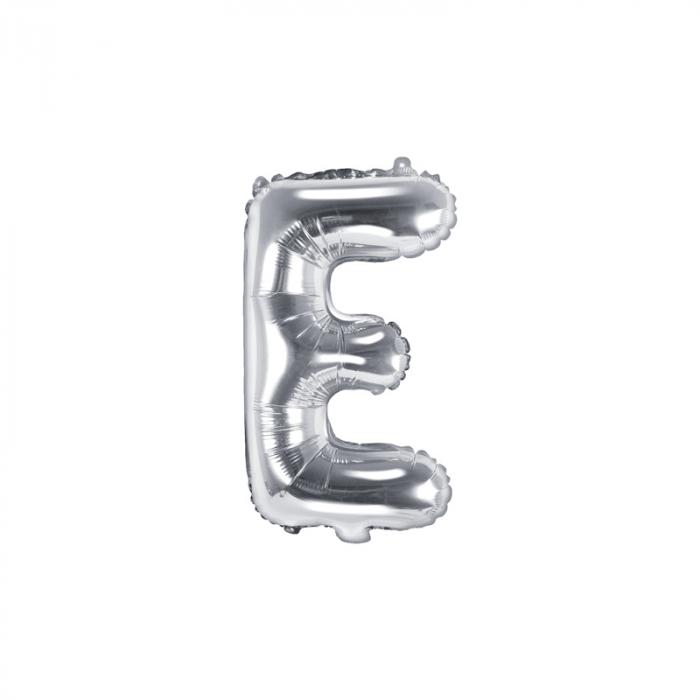 Balon Folie Litera E Argintiu, 35 cm 0