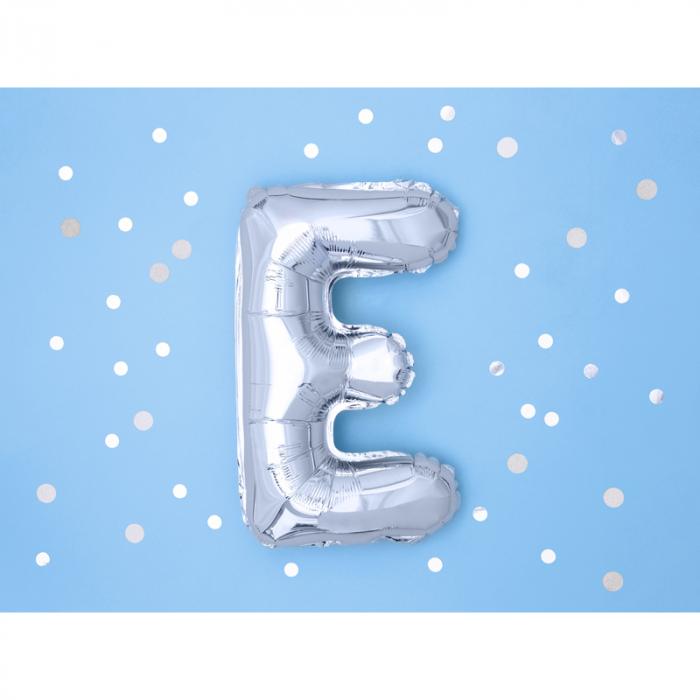 Balon Folie Litera E Argintiu, 35 cm 1
