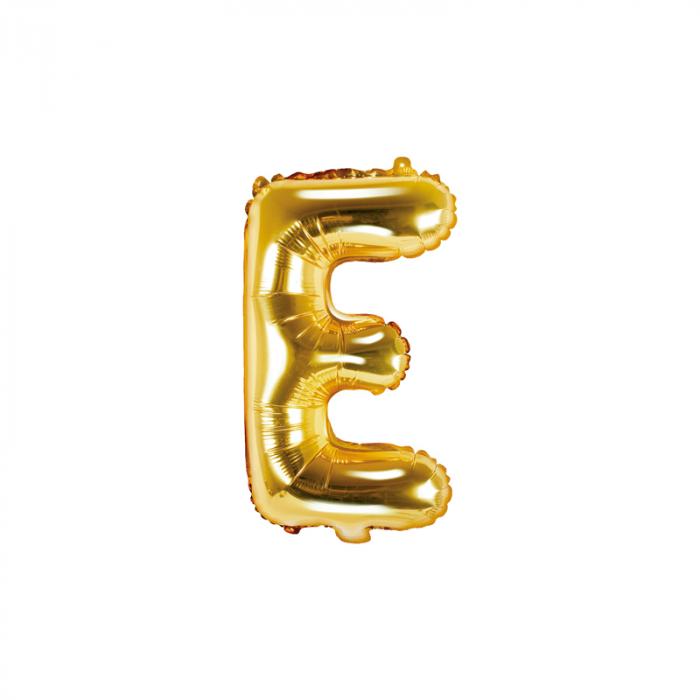Balon Folie Litera E Auriu, 35 cm 0