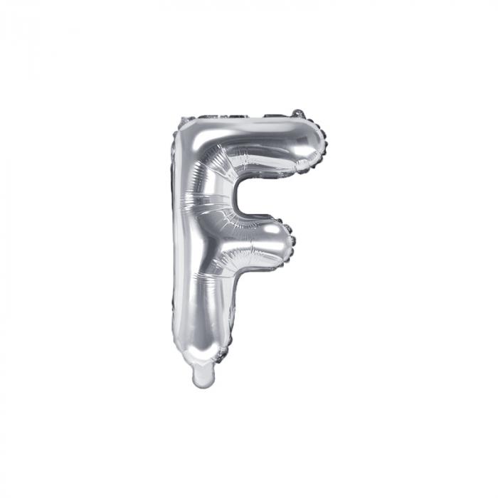 Balon Folie Litera F Argintiu, 35 cm 0