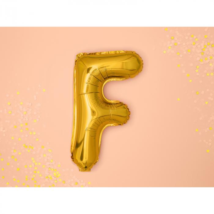 Balon Folie Litera F Auriu, 35 cm 1
