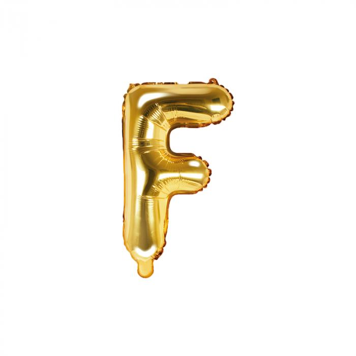 Balon Folie Litera F Auriu, 35 cm [0]
