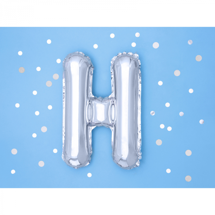 Balon Folie Litera H Argintiu, 35 cm [1]