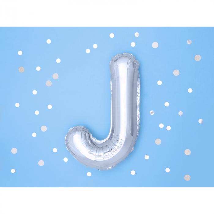 Balon Folie Litera J Argintiu, 35 cm 1