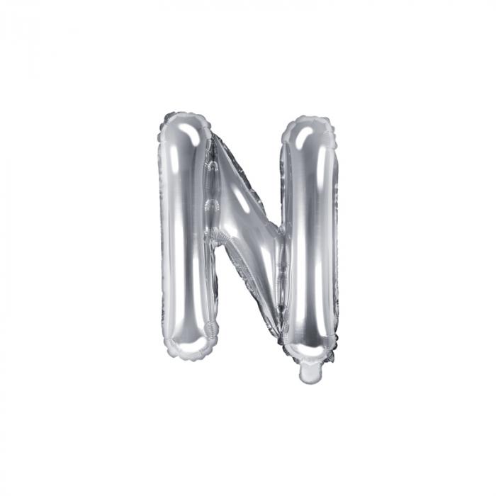 Balon Folie Litera N Argintiu, 35 cm [0]