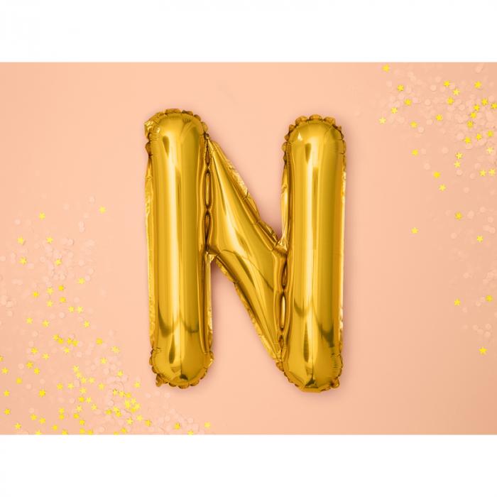 Balon Folie Litera N Auriu 35 cm 1