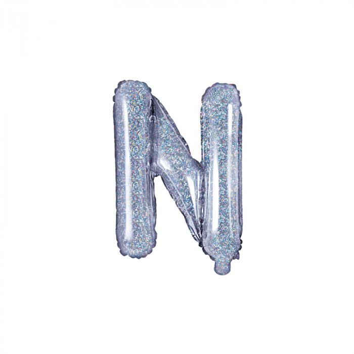 Balon Folie Litera N Holografic, 35 cm 0