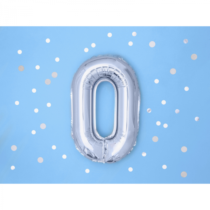 Balon Folie Litera O Argintiu, 35 cm 1