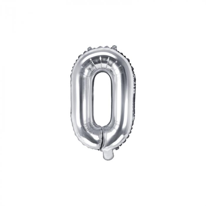Balon Folie Litera O Argintiu, 35 cm 0