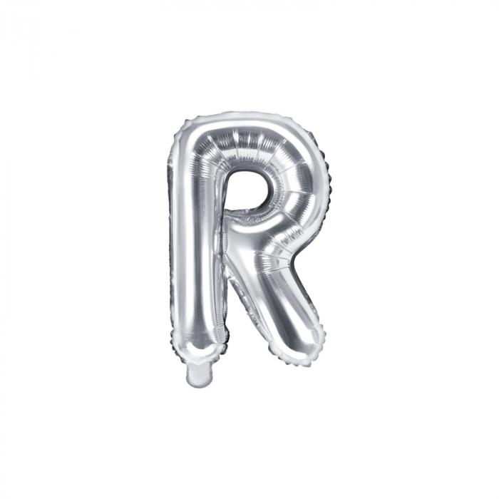 Balon Folie Litera R Argintiu, 35 cm 0
