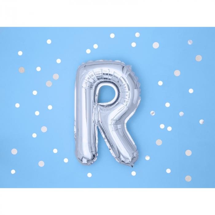 Balon Folie Litera R Argintiu, 35 cm 1