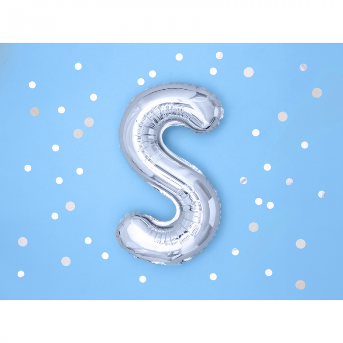 Balon Folie Litera S Argintiu, 35 cm 1
