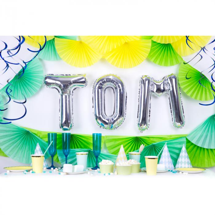 Balon Folie Litera T Argintiu, 35 cm [2]