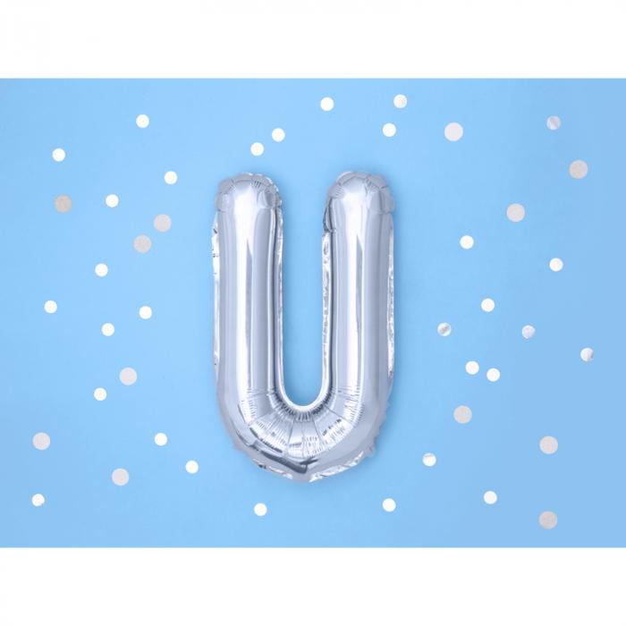 Balon Folie Litera U Argintiu, 35 cm 1