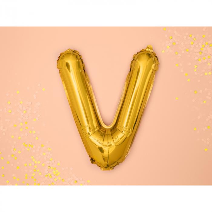 Balon Folie Litera V Auriu, 35 cm 1