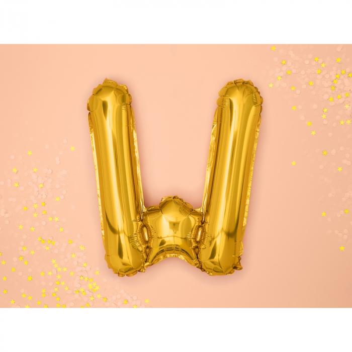 Balon Folie Litera W Auriu, 35 cm 1