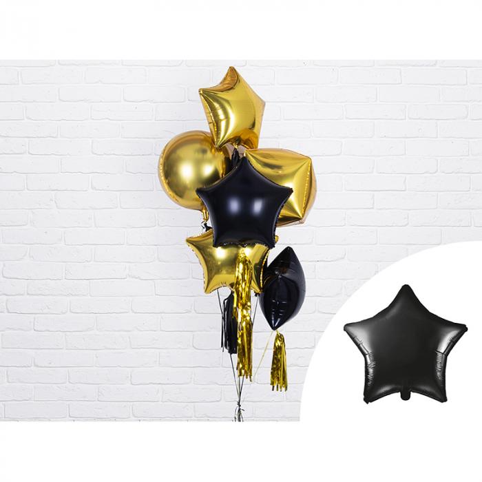 Balon Folie Stea, Negru - 48 cm 1