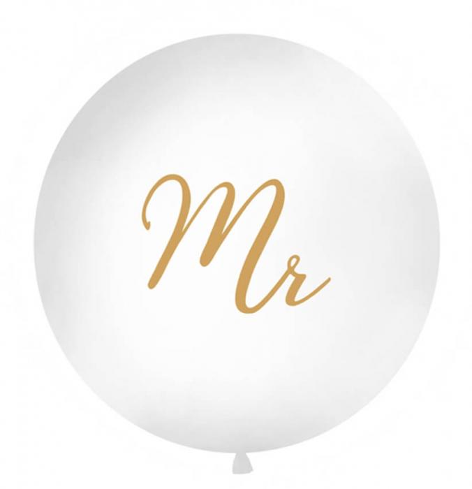 Balon Jumbo Mr, Alb - 100 cm 0