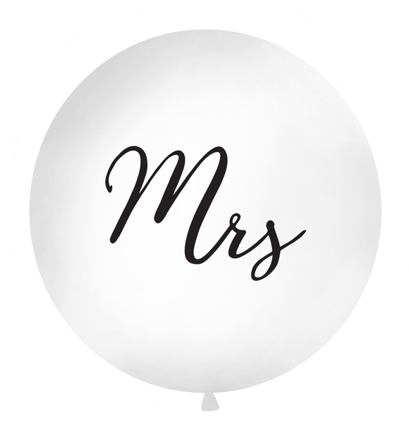 Balon Jumbo Mrs, Alb - 100 cm 0