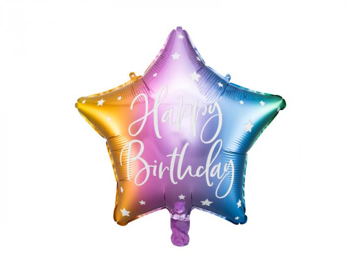 Balon Folie Stea Happy Birthday, Multicolor - 40 cm [0]