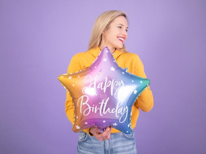 Balon Folie Stea Happy Birthday, Multicolor - 40 cm [1]