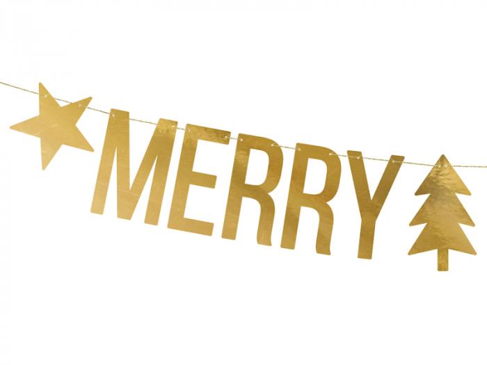 Banner Craciun, Merry Christmas, Auriu [1]