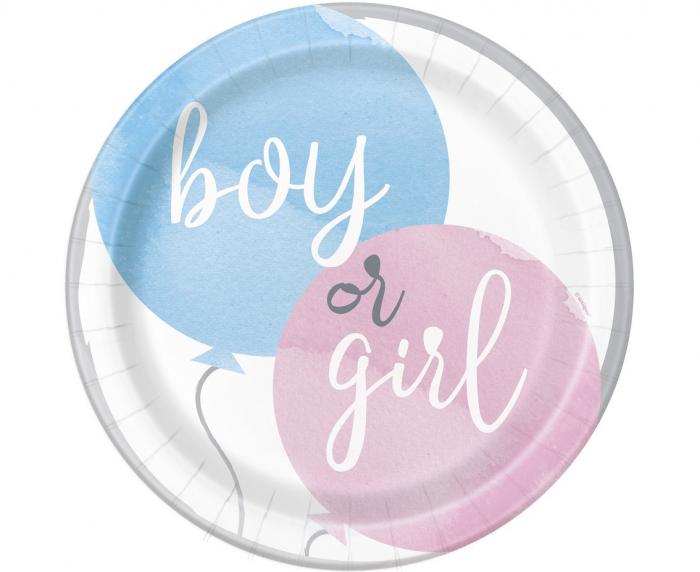 Set 8 Farfurii Gender Reveal, Boy or Girl, 23 cm [0]