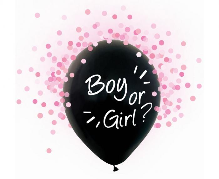 Set 4 Baloane cu Confetti Gender Reveal, Fetite - 30 cm [0]