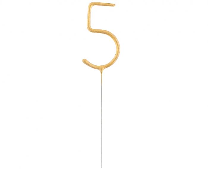 Lumanare Scanteietoare Cifra 5, Auriu, 17 cm [0]
