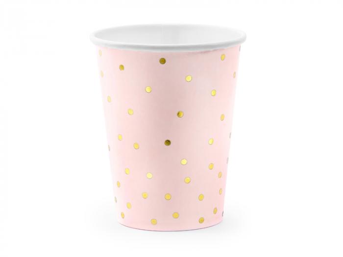 Set 6 Pahare Roz cu Buline Aurii, 220 ml [0]
