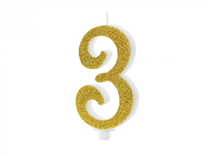 Lumanare Cifra 3, auriu, 10 cm 0