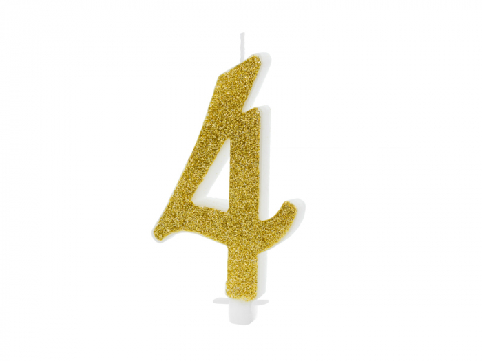 Lumanare Cifra 4, auriu, 10 cm [0]