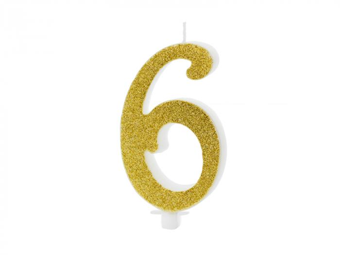 Lumanare Cifra 6, auriu, 10 cm 0