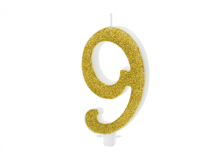 Lumanare Cifra 9, auriu, 10 cm [0]