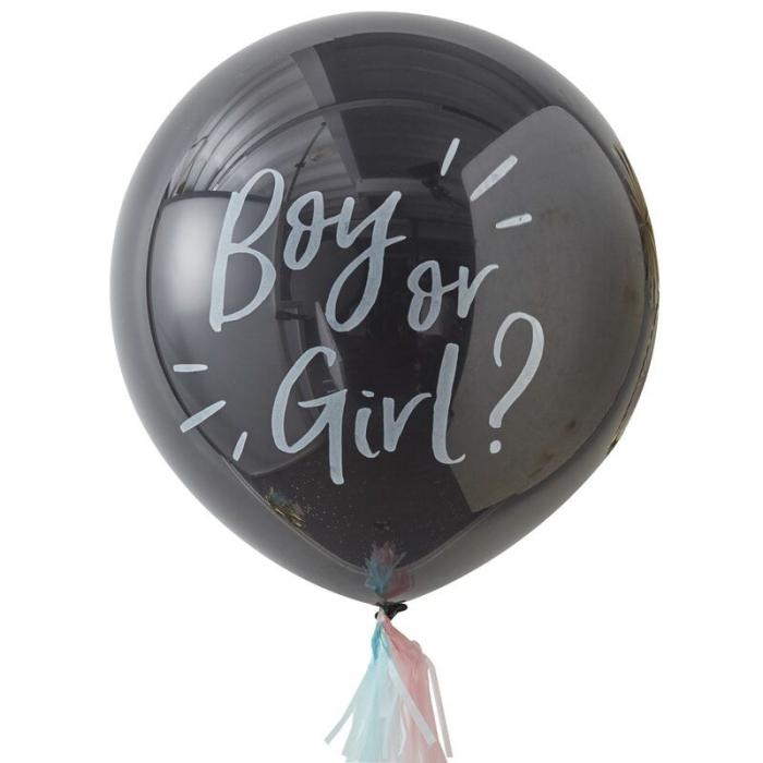 Balon cu Confetti Gender Reveal Boy or Girl, 90 cm [0]