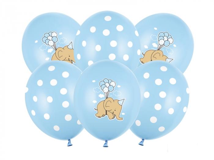 Set 6 Baloane Latex Elefant, Albastru Pastel - 30 cm [0]